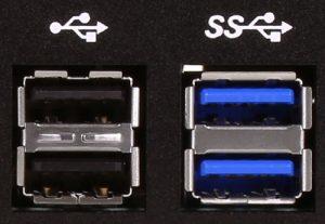 USB 2.0 and USB 3.0 ports